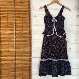 Vtg Gunne Sax Sleeveless Dress Floral Ruffle Lace